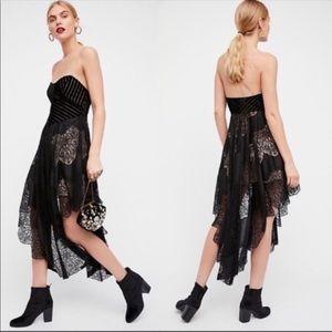 Free People Dark Fairy Black Velvet Lace Dress
